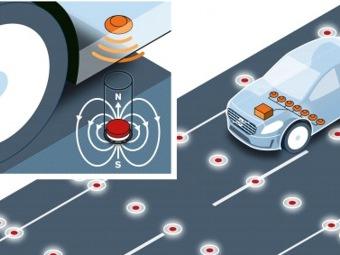 Volvo использует магниты, чтобы машины не съезжали с дороги